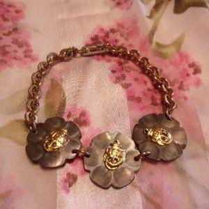"Vintage US Navy Shell Gold Tone Bracelet 7"" L"